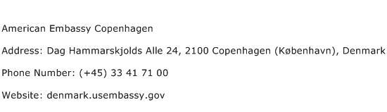 American Embassy Copenhagen Address Contact Number