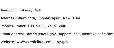 American Embassy Delhi Address Contact Number