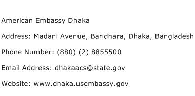 American Embassy Dhaka Address Contact Number