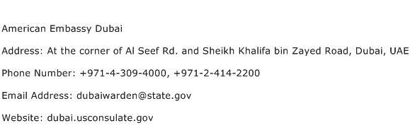 American Embassy Dubai Address Contact Number