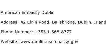 American Embassy Dublin Address Contact Number