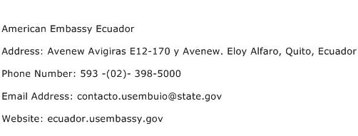 American Embassy Ecuador Address Contact Number