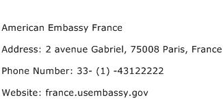 American Embassy France Address Contact Number