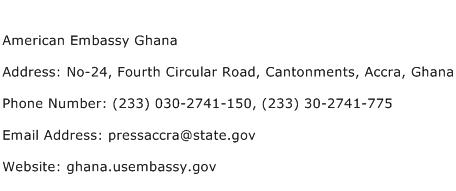 American Embassy Ghana Address Contact Number
