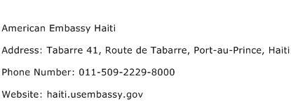 American Embassy Haiti Address Contact Number