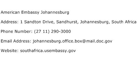 American Embassy Johannesburg Address Contact Number