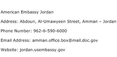 American Embassy Jordan Address Contact Number