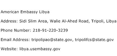 American Embassy Libya Address Contact Number