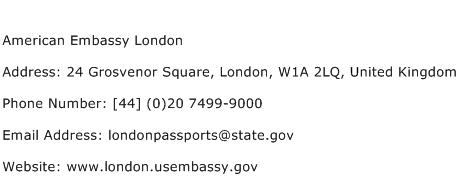 American Embassy London Address Contact Number