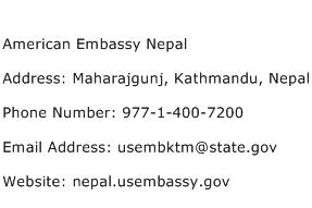 American Embassy Nepal Address Contact Number