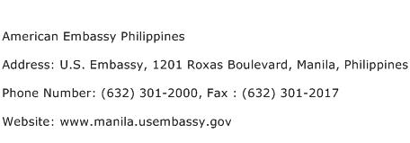 American Embassy Philippines Address Contact Number