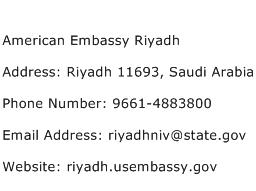 American Embassy Riyadh Address Contact Number