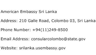 American Embassy Sri Lanka Address Contact Number