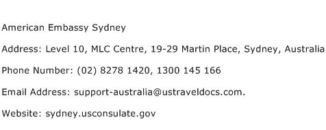 American Embassy Sydney Address Contact Number