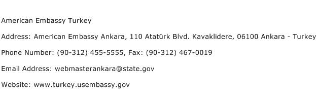 American Embassy Turkey Address Contact Number