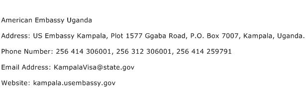 American Embassy Uganda Address Contact Number
