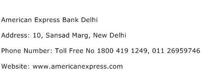 American Express Bank Delhi Address Contact Number