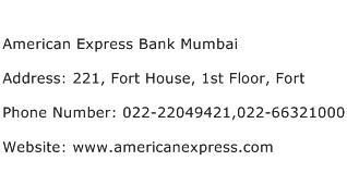 American Express Bank Mumbai Address Contact Number