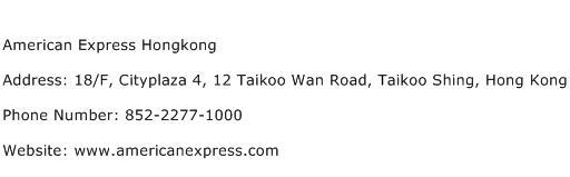 American Express Hongkong Address Contact Number