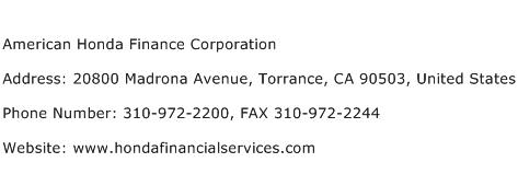 American Honda Finance Corporation Address Contact Number