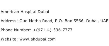 American Hospital Dubai Address Contact Number
