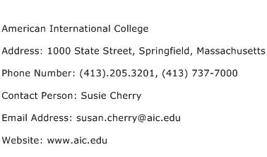 American International College Address Contact Number