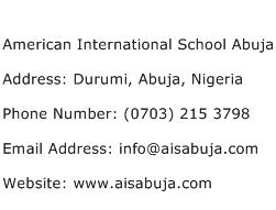 American International School Abuja Address Contact Number
