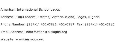 American International School Lagos Address Contact Number