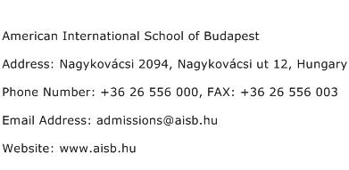 American International School of Budapest Address Contact Number