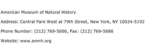 American Museum of Natural History Address Contact Number