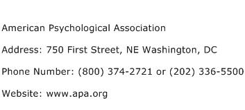 American Psychological Association Address Contact Number