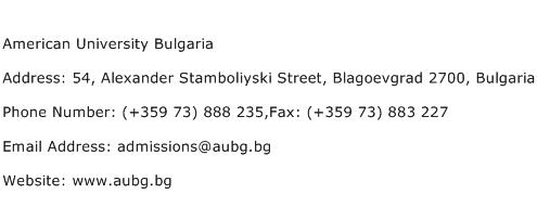 American University Bulgaria Address Contact Number