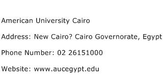 American University Cairo Address Contact Number