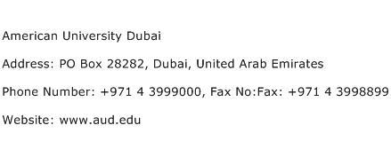 American University Dubai Address Contact Number