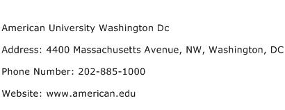 American University Washington Dc Address Contact Number