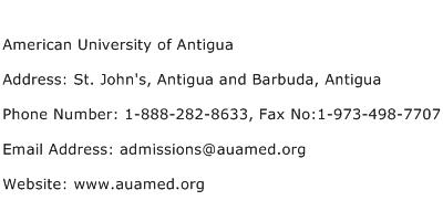American University of Antigua Address Contact Number