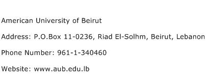 American University of Beirut Address Contact Number