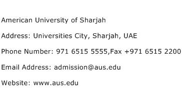 American University of Sharjah Address Contact Number