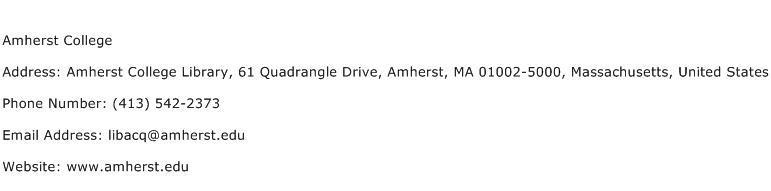 Amherst College Address Contact Number