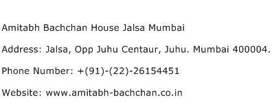 Amitabh Bachchan House Jalsa Mumbai Address Contact Number