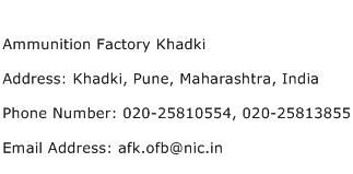 Ammunition Factory Khadki Address Contact Number