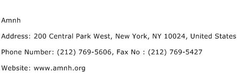 Amnh Address Contact Number