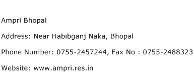 Ampri Bhopal Address Contact Number