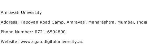 Amravati University Address Contact Number