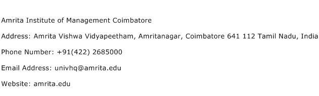 Amrita Institute of Management Coimbatore Address Contact Number