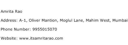 Amrita Rao Address Contact Number