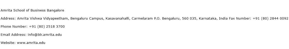 Amrita School of Business Bangalore Address Contact Number