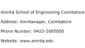 Amrita School of Engineering Coimbatore Address Contact Number
