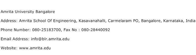 Amrita University Bangalore Address Contact Number