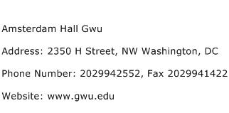 Amsterdam Hall Gwu Address Contact Number